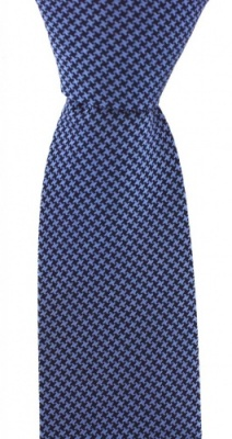 Luxury Navy Blue and Light Blue Dogtooth Silk Tie by Soprano